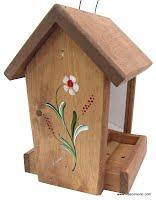 Mangeoire d'oiseaux en bois teint et peint à la main