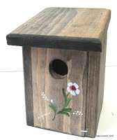 Nichoir d'oiseaux en bois teint et peint à la main