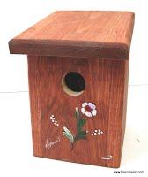 Nichoir en bois pour hirondelle bicolore teint et peint à la main