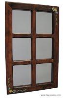 miroir en bois teint et peint à la main
